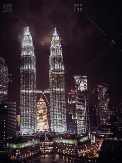 Kuala Lumpur, Malaysia - December 2, 2011: Petronas Towers lit up at night