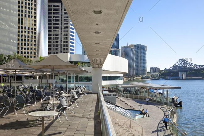 Café on the river, downtown Brisbane, Queensland, Australia
