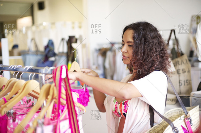 Close up of woman shopping in a clothing store