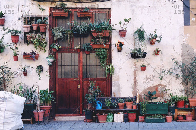 Exterior of a house with flower pots