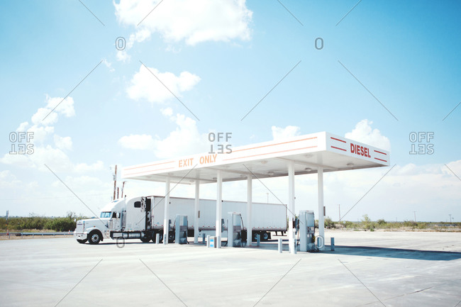 Truck at gas station