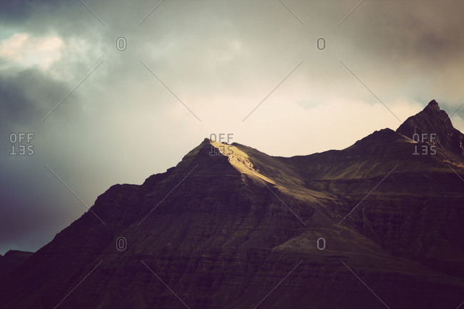 View of a mountain ridge in Iceland