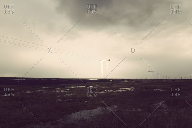 Landscape of Iceland with utility poles