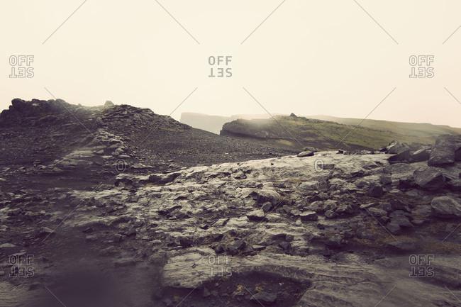 Misty landscape of rural Iceland