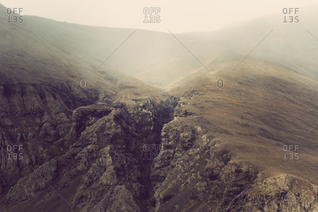 View of misty hillside in Iceland