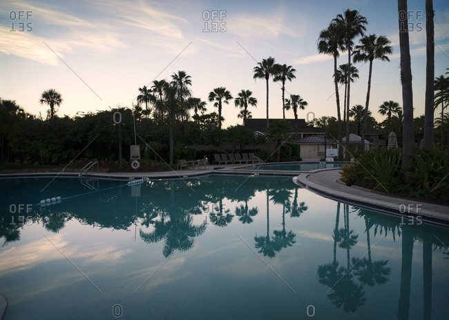 Swimming pool at sunset in Florida