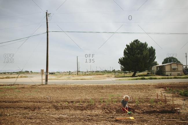 Boy digging a ditch in a dry field