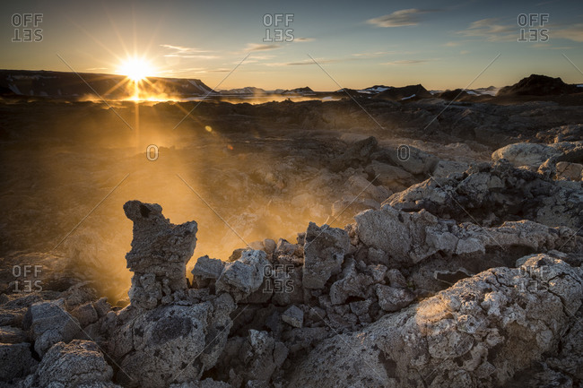 Krafla fumaroles at sunset, Iceland