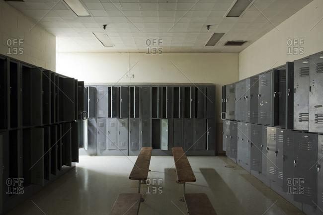 Empty lockers in a locker room
