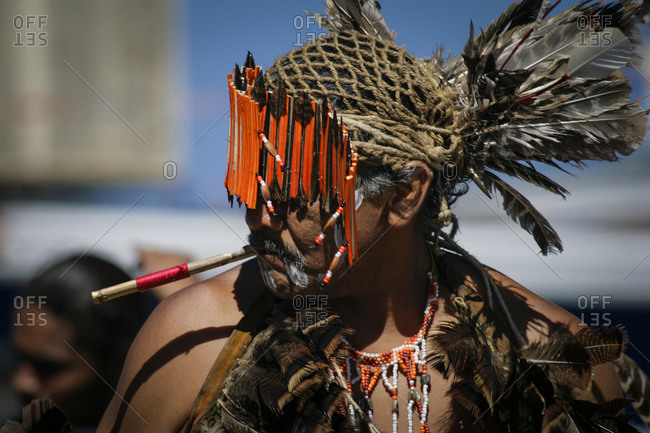 Native American Miwuk dancer at the Gallup Intertribal ceremonies in New Mexico, USA
