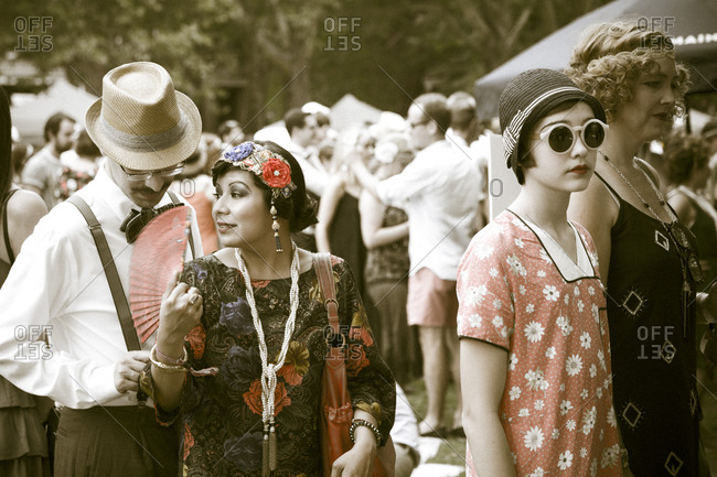 New York City, NY, USA - August 16, 2014: People at a 1920's Jazz Age Lawn Party at Governors Island