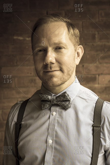 New York City, NY, USA - August 16, 2014: Portrait of a man at Jazz Age Lawn Party, at Governors Island,