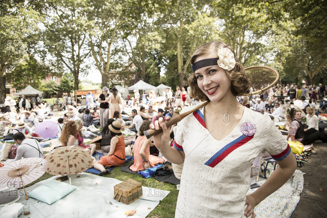 New York City, NY, USA - August 16, 2014: Picnic at Jazz Age Lawn Party at Governors Island