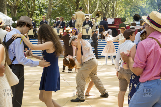 New York City, NY, USA - August 16, 2014: Dancing at Jazz Age Lawn Party at Governors Island