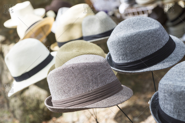 Various hats on display