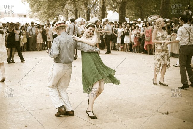 New York City, NY, USA - August 17, 2014: Dancing at Jazz Age Lawn Party at Governors Island
