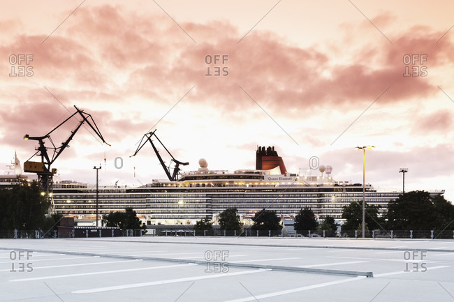 Hamburg, Germany - August 27, 2014: Cruise ship Queen Elizabeth in the dry dock