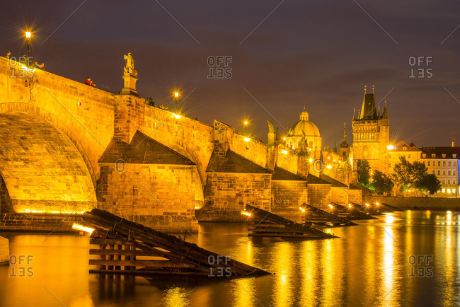Charles Bridge and Old Town Bridge Tower in the evening