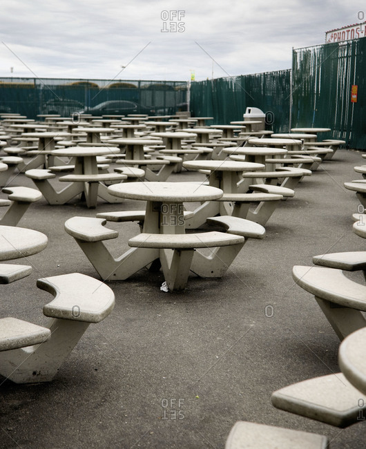 Outdoor tables and bench seats in Brooklyn, NY, USA
