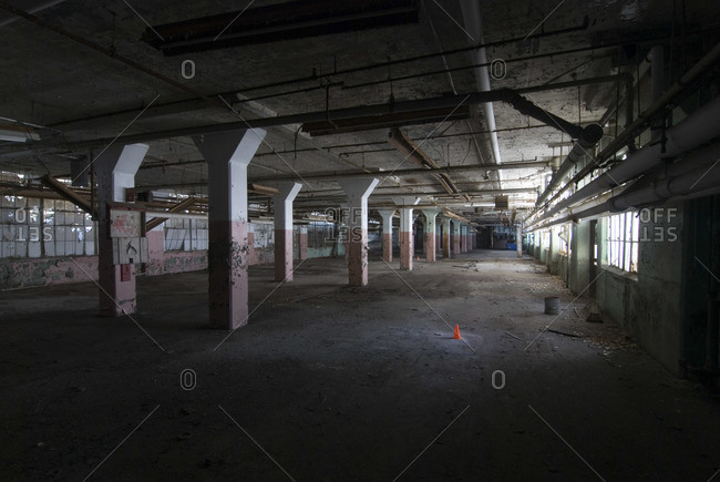 Vast hall in an abandoned factory