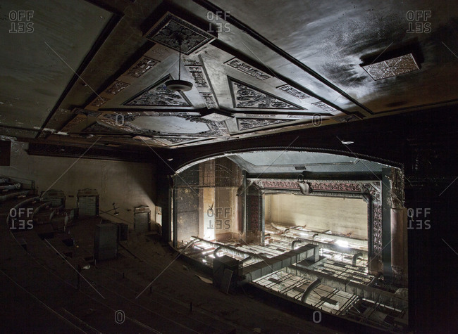 Yonkers, New York, USA - May 29, 2008: Inside the abandoned Proctor's Palace Theater