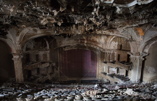 Newark, New Jersey, USA - June 8, 2008: Inside the abandoned Adams Theater