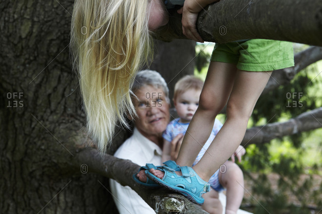 Elderly man holding his grandson while his granddaughter climbing on a tree
