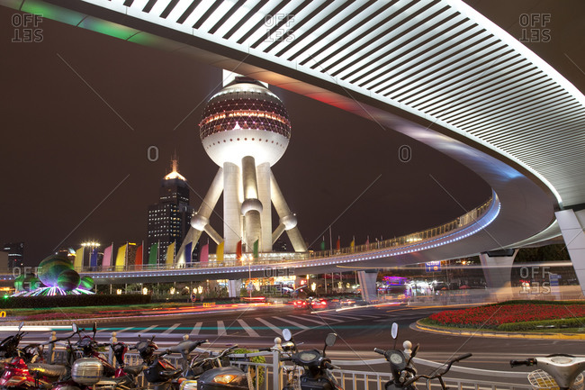 The Oriental Pearl Radio and TV Tower and streets, Shanghai, China