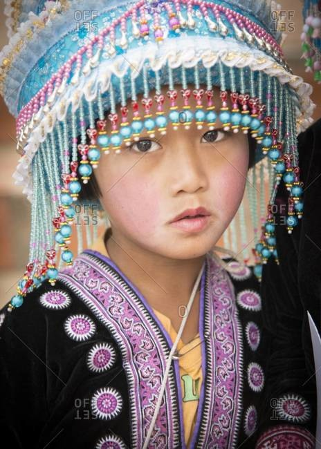 Chiang Mai, Thailand - January 18, 2013: Portrait of a hill tribe girl in Chiang Mai, Thailand