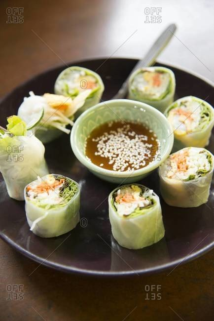 A plate of summer rolls with dipping sauce in Chiang Mai, Thailand