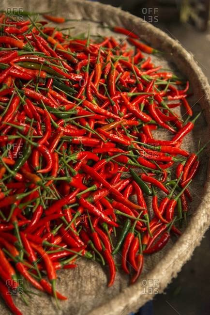 Hot red chilis for sale at a market in Bangkok, Thailand