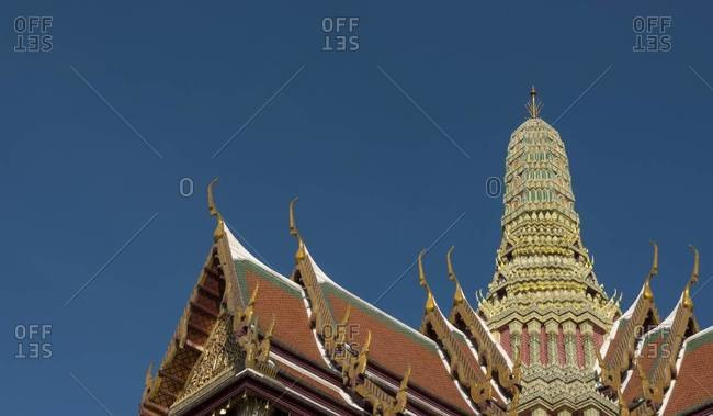 Roof of the Wat Phra Kaew temple at the Grand Palace in Bangkok, Thailand