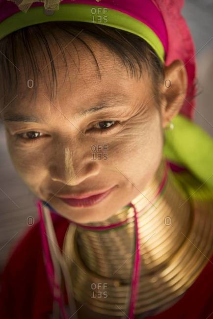 Chiang Mai, Thailand - January 20, 2014: Portrait of a Padaung long neck woman in Chiang Mai, Thailand