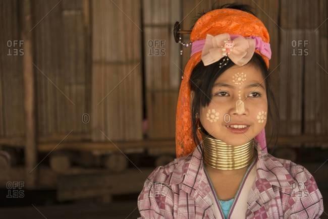 Chiang Mai, Thailand - January 20, 2014: Portrait of a Padaung long neck girl in Chiang Mai, Thailand