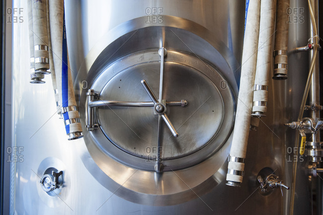 Beer making tanks, clean and sterile with the door attachments shown