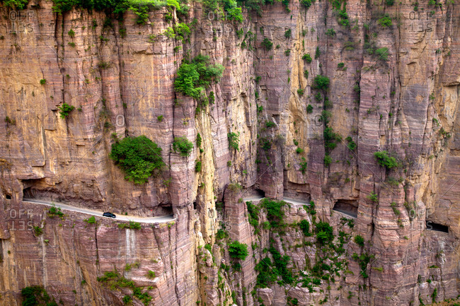 Mountain road on Taihang Mountains in Shanxi, China