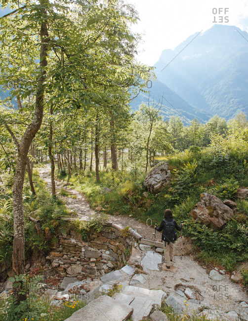 Hiker in the Valle Verzasca, Ticino, Switzerland