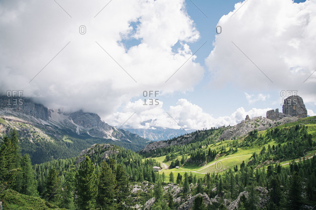 View of Cinque Torri, south-west of Cortina d'Ampezzo, Italy