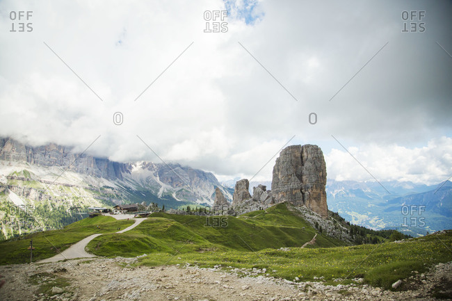 Path to Cinque Torri, south-west of Cortina d'Ampezzo, Italy