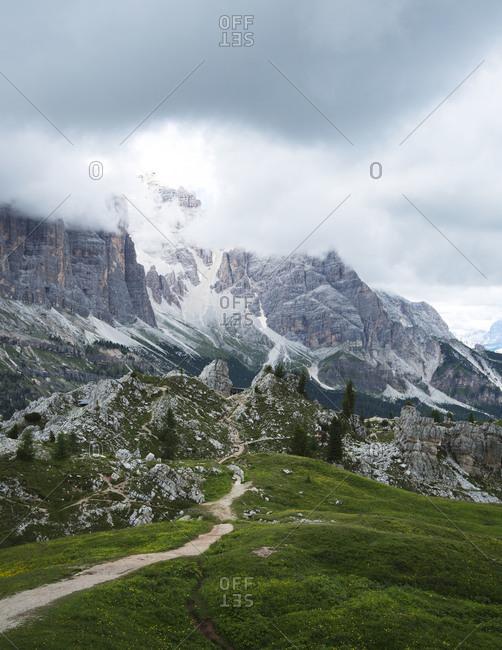 Trail to Cinque Torri near Cortina D'Ampezzo, Italy