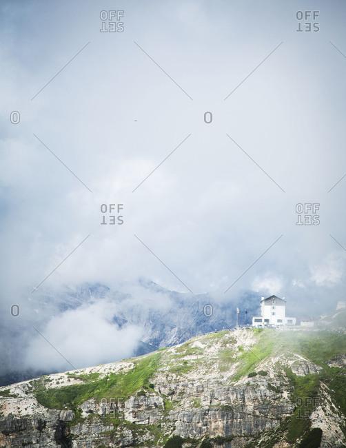 View of Rifugio Auronzo hut in the Dolomites, Italy