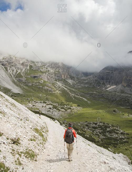 Hiking down the Tre Cime di Lavaredo loop near Cortina D'Ampezzo, Italy