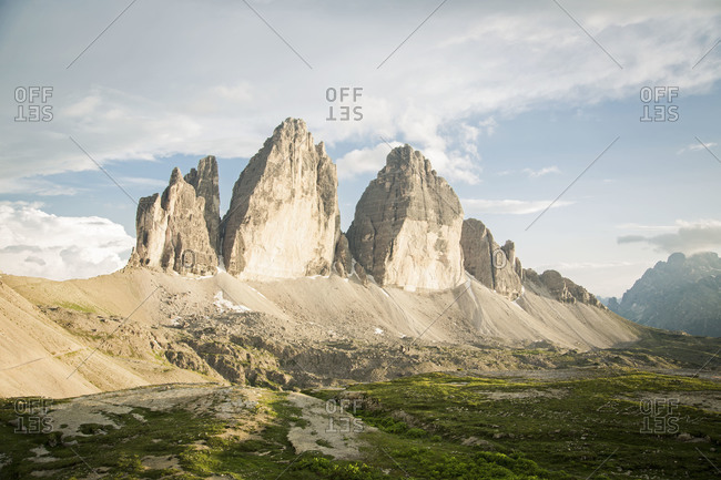 The peaks of Tre Cime di Lavaredo in the Dolomites, Italy