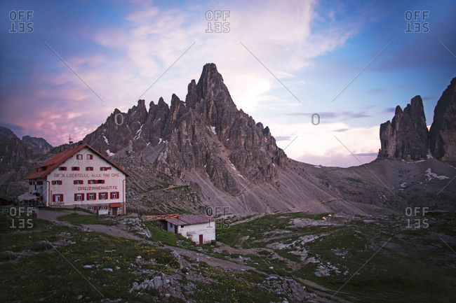 Restaurant located on the Tre Cime di Lavaredo hiking trail, Italy