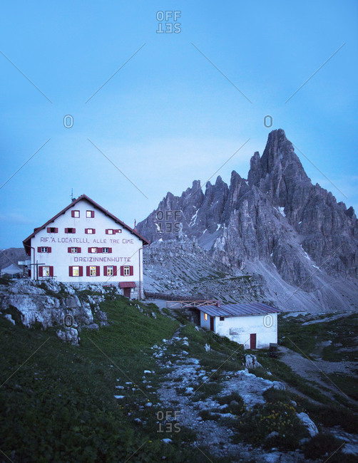 Dusk at a restaurant located on the Tre Cime di Lavaredo hiking trail, Italy