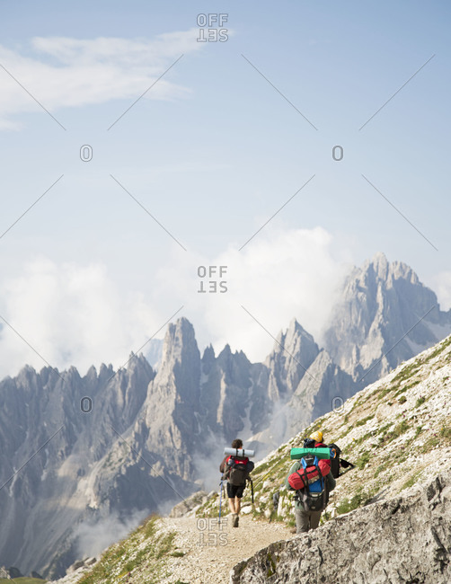 People backpacking in the Tre Cime di Lavaredo loop, Italy
