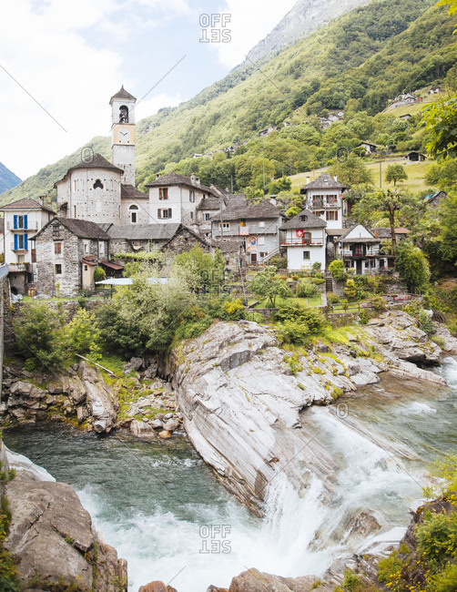 View of Lavertezzo in the Valle Verzasca, Ticino, Switzerland