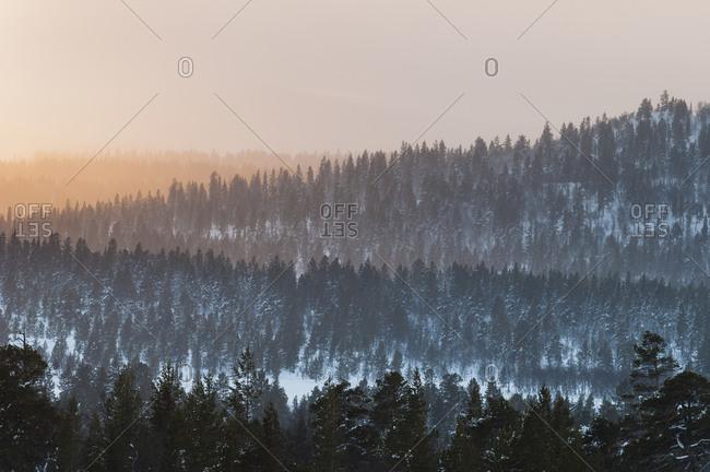 Mountainous landscape at winter