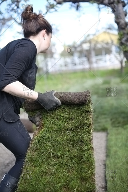 Woman putting new lawn