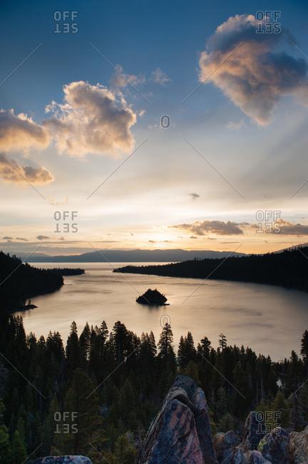 Emerald Bay at sunrise in Lake Tahoe, California, USA